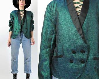 Vintage Metallic Tuxedo Jacket Sparkly Green Holographic Tuxedo Blazer Sport Coat Unisex Mens Tailored  Suit Blazer Dinner Jacket (L) E6072