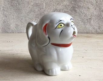 Handpainted vintage pottery creamer ceramic dog pitcher, collectible dog creamer dog lover gift collectible creamer, vintage creamer dog jug