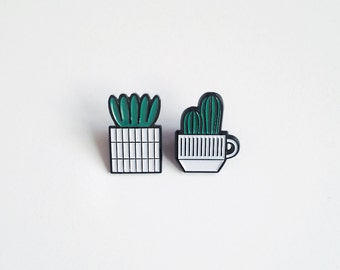 Cactus Cup & Succulent Pin Pair