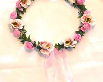 Pink Flower crown, flower crown,  flower headband, wedding crown, head piece, head wreath, hair accessories, pink crown, flower girl crown