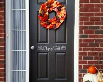 Happy Fall Decal - Front Door Decal - Autumn Decor - Door Sticker