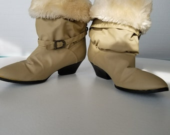 Cream and Tan 80's Winter Boots