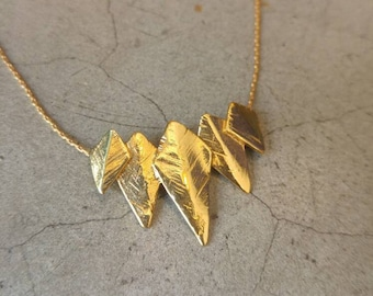Arrow head necklace, Crown necklace, Spike Pendant necklace, Shield Necklace, Warrior Necklace, Gold filled necklace, Edgy necklace, Ashanti