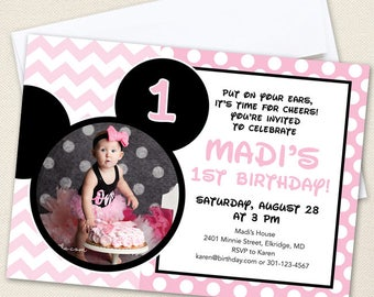 Minnie Mouse Photo Invitations (Baby Pink) - Professionally printed *or* DIY printable