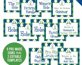 INSTANT DOWNLOAD Navy Golf Party Signs - Printable 8x10 Signs plus Bonus EDITABLE Signs!