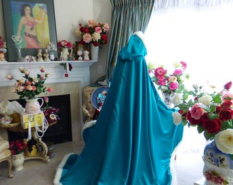 Princess Jasmine Inspired Bridal Cape Teal Green/ Gold Satin  52/67 inch Reversible wedding cloak Hooded with fur trim Handmade in USA