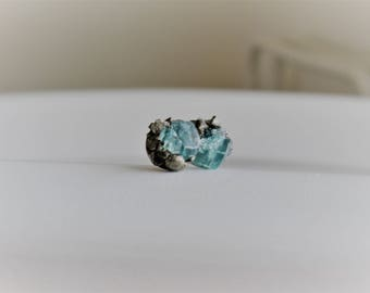 Raw Apatite and Pyrite Crystal Studs / Modern Boho/Crushed PyriteStud Earrings/Hypoallergenic