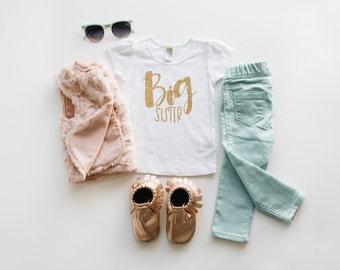 New! Hand lettered gold glitter Big Sister shirt | original design | big sister announcement | pregnancy announcement | big sister gift