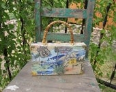 """RESERVED Cut Vintage Handmade Wood Cigar Box Purse w/HISTORIC ROUTE 66 and Bamboo Handle w/Brass Latch that measures 11"""" x 6 5/8"""" x 2 1/4"""" ~"""