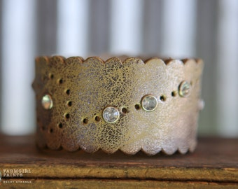 CUSTOM HANDSTAMPED CUFF - bracelet - personalized by Farmgirl Paints - metallic cuff with scalloped edge and rhinestones