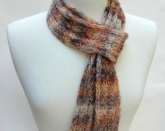 Cotton Scarf- Hand Knit/Cream/ Gray/Amber