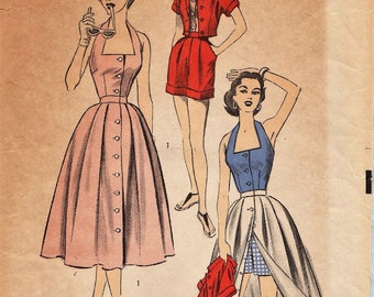 Advance 6394 / Vintage 50s Sewing Pattern / Halter Skirt Shorts Romper Playsuit Jacket / Size 12 Bust 30