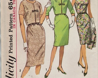 Simplicity 5491 / Vintage Half Size Sewing Pattern / Dress And Jacket / Bust 41