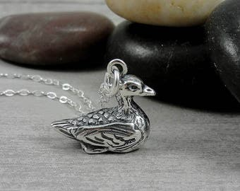 Duck Necklace, Sterling Silver Mallard Duck Charm on a Silver Cable Chain