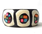vintage 60s b&w geometric modernist bangle brass bone bracelet inlay black white multi-colored metal heavy weight wide oversize chunky neon