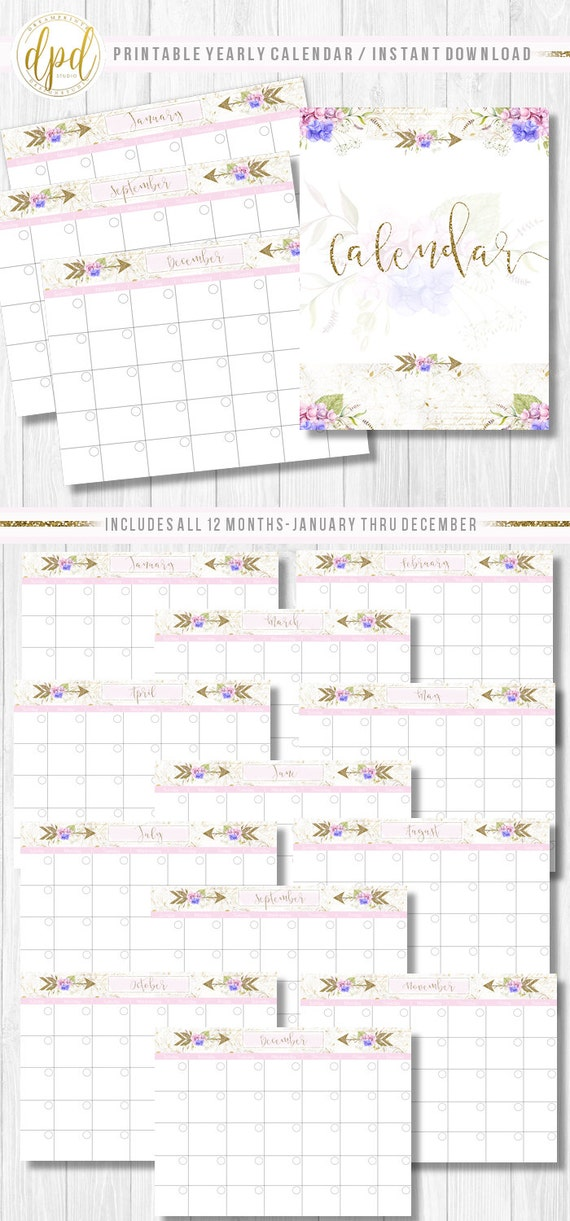 "Premade Printable Twelve Month Calendar | Lettersize 8.5"" x 11"" | Premade Set | Business Prints | Business Designs-INSTANT DOWNLOAD-BA693"
