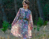 Bohemian Floral Dress... Boho Chic... Semi Sheer Dream Scape