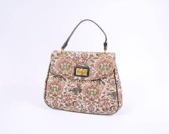 1960s Large Tapestry Handbag - Carpet Bag - Colorful Tapestry Purse // Rust Orange Black / Novelty Print Birds