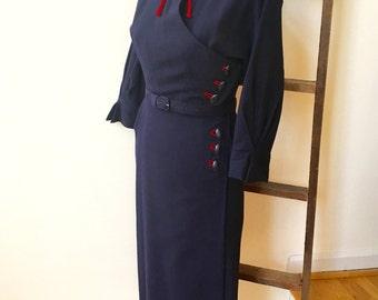 40s R&K Original Secretary Day Dress Vintage Navy Shirtwaist Red String Tie Slit Cuff Pencil Skirt Side Buttons Great Forties Details