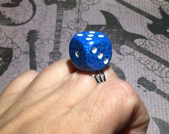 Blue Speckled Dice Ring - Bunco Jewelry - Casino - Lucky Ring - Gift - Under 10 dollars - Bunco Party