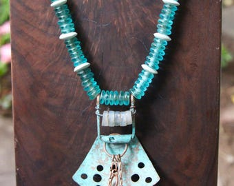 Verdigris Copper Shield Pendant Necklace Fold Formed Copper Metalwork Old Opalescent Glass Beads Aqua Glass Rings Ocean Beach Jewelry