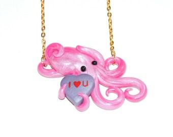 Valentine's day octopus necklace. conversation heart, candy necklace. galentine's, palentine's. gift. pink