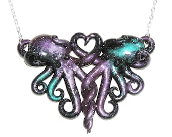 Galaxy octopus necklace, intertwined octopi, opalescent, sparkly, glitter, starry night, outer space, stars, cosmic