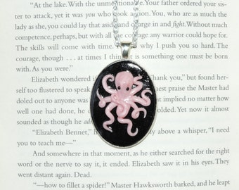 Light pink octopus cameo pendant necklace.