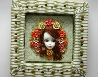 Pop Art Nouveau, quircky, retro, Doll Frame, mixed media art, roses, flowers, home decor, wall, face, roses, one of a kind, 3D, Mucha style