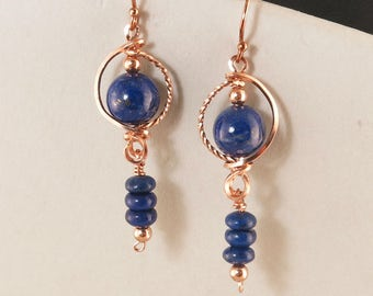 Lapis Lazuli Rose Gold Dangle Earrings, Royal Blue Lapis Gemstone Unique Wire Wrapped Rose Gold Earrings, Unique Lapis Artisan Earrings