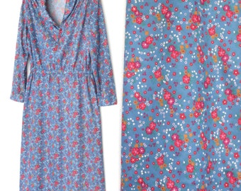 Vintage 70s Dress * Floral Shirt Waist Dress * 1970s Dress * Large