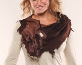 SALE! Raw elegance: Leather sculptural scarf with fresh water pearl, copper, and fringe detail, hand-stitched one-of-a-kind wearble art