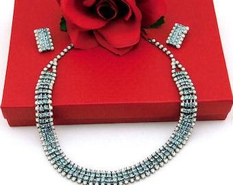 Vintage Necklace Bracelet Earrings Set White Milk Glass & Light Blue Rhinstone