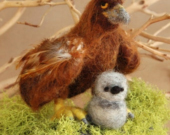 Needle felted animal, needle felted bird, hatchling, Golden Eagle, needle felted, eagle, mother and babies, Waldorf toy, made to order