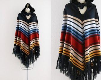 1970's hooded fringe poncho