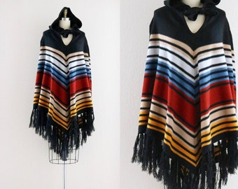 S A L E 1970's hooded fringe poncho
