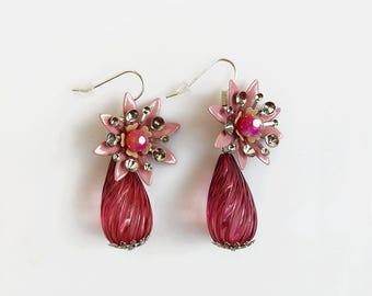 Pink Drop Earrings, Flower Statement Earrings, Pink Dangle Earrings