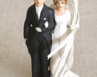 Wedding Cake Topper, Cake Decorating, Bisque, Ceramic, Married Couple, Marriage, Weddings, Collectibles, Figurines, Antiques, Formal Wear