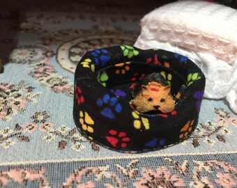 Miniature Dog Bed, Fabric Dog Bed, Brown and Turquoise, Dollhouse Miniature, 1:12 Scale, Mini Bed, Paw Print Fabric Pattern