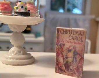 "Miniature Book, ""A Christmas Carol""  Printed Text, Front and Back Cover, Dollhouse Miniature, 1:12 Scale, Mini Book"