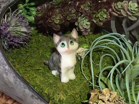 Mini Kitten Figurine, Grey & White Sitting Cat, Fairy Garden Accessory, Home Decor, Topper, Gift, Kitty Cat Figurine Laying Cat