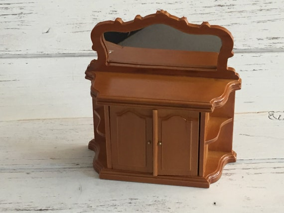 Miniature Walnut Sideboard With Mirror, Doors and Side Shelves, Dollhouse Furniture, 1:12 Scale Miniature, Miniature Table, Cabinet