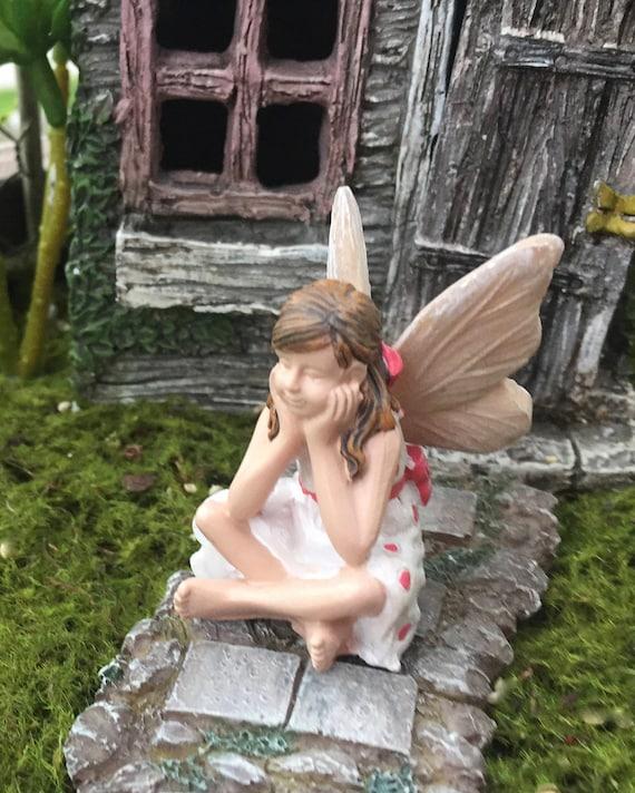 """Fairy Garden Fairy Figurine,  """"Heidi"""" , Sitting Fairy with Polka Dot Dress, Fairy Garden Accessory, Garden Decor"""
