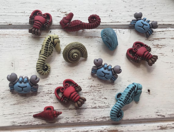 Sea Creature Buttons, Packaged Novelty Buttons, Style #4265, Includes Seahorse, Crabs, Shells & Lobster Buttons, Embellishments