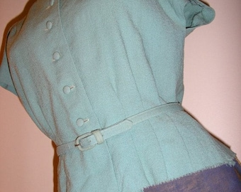Classic Vintage 1940s Pale Blue Belted Jacket Top