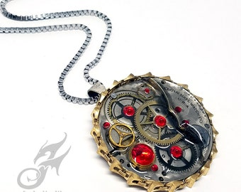 Industrial Steampunk Pendant, Pocketwatch Collage with Red Rhinestones, Brass Chain Bezel Border on Stainless Steel Box Chain #P0063
