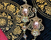 Gold Tone Chandelier Chain Earrings with Blush Pink crystal gems (Bridal Jewelry) Vintage Romantic Dangle Earrings for wedding accessories