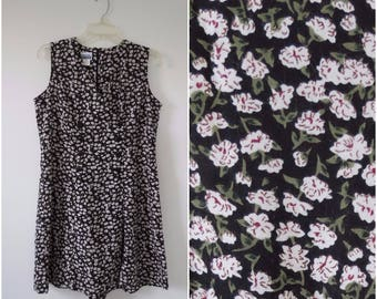 1990s Rayon Romper Pantdress - Black and White Ditzy Print - Bust 36 by Basic Editions