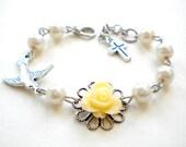 Catholic Rosary Bracelet First Communion Bracelet Goddaughter Gift Baptism Gift Girl Ivory Flower Bracelet Baby Shower Gift Pearl Bracelet