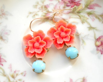 Gold Flower Earrings Vintage Glass Earrings Gold Dangle Earrings Baby Blue Earrings Peach Flower Earrings Gold Plated Earrings